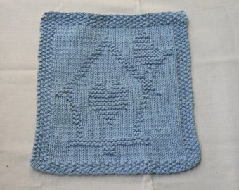 Hand Knitted Beautiful Blue Birdhouse With Heart Picture Dish Cloth or WashCloth