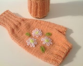 Fingerless mittens , texting gloves, driving gloves ,merino wool yarn, daisy embroidery , apricot color