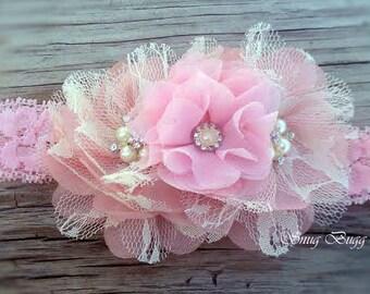 Rosy Cheek Pink Headband | Girls Flower Headband | New Born Headband | Baby Girls Headband | Chiffon Flower Headband