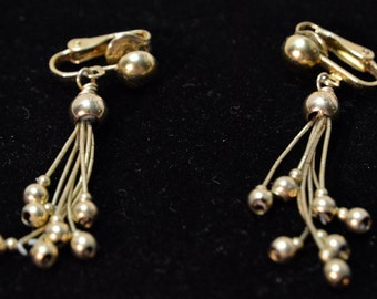 Vintage Estate Costume Jewelry Liquit Rain ER Dangling Goldplate Clip 1pr Earrings