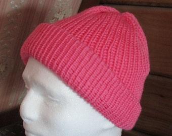 Beautiful, hand-knit, Cancer Pink hat. Very soft 100% Acrylic yarn, Adults