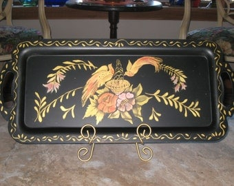 Metal Tray/Toleware/Hand Painted Tray Platter/Hand Painted Metal Tray/Rectangle Tray/Unique Metal Tray