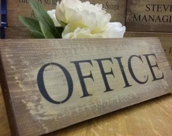 Handmade Rustic Wooden Plaque Sign Shabby Chic OFFICE Door Desk Business