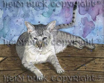 Snow Serengeti Cat 'Mowgli' Greetings Card