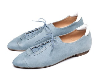 Sale 40% off! Blue shoes, blue oxford shoes, women shoes, sneakers, handmade leather shoes by Burlinca. Alexander model