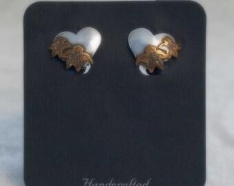 Gardella Jewelry ~ Heart Earrings ~ Silver, Copper & Brass ~ Vintage