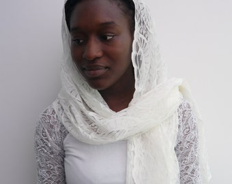 Off-White Lace Mantilla Veil Head covering Scarf