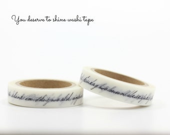 Black and white series washi tape with double lines of encouraging words - 1cm x 7m