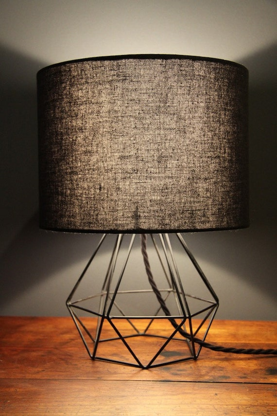 Items Similar To Diamond Geometric Wire Table Desk Lamp