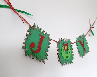 JOY Holiday Banner, Christmas Banner, Glitter Red and Green Banner, Wreath Decor, Christmas Decoration, Photo Prop