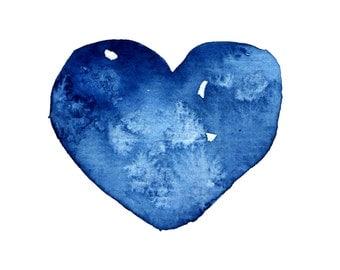 Blue heart print, watercolor heart, nursery heart print, heart illustration, heart wall art