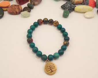 Pine Green and Rhodonite, Tree of Life Charm bracelet