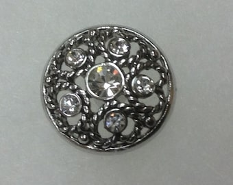 Silver LACE- CLEAR RHINESTONE 20mm Snap button...beauty!!!