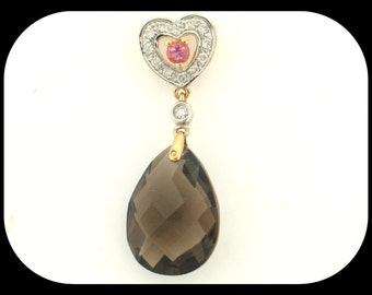 Estate Simon Golub & Sons 14K Yellow Gold Smoky Quartz, Pink Tourmaline and Diamond PENDANT