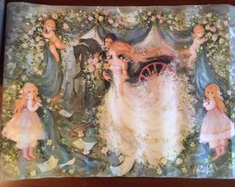 3 Vintage Gordon Fraser Wrapping Paper Christmas Girls Cartoon