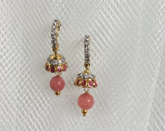 Small drop earrings | Pink stone Earrings