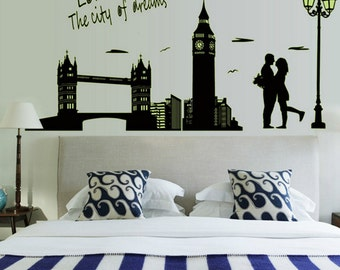 London city view decal, travelling style decal, night glowing decal, fluorescent night decal