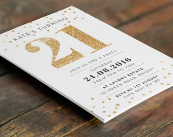 Gold 21st Birthday Invitation A6 (Digital File - Printable PDF)