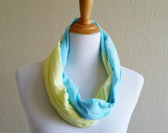 Hand Painted Scarf, Hand dyed Scarf, Summer Scarf, Cotton Scarf, Light weight Scarf, Summer blue and Yellow Scarf, Dip Dyed Scarf, turqoise