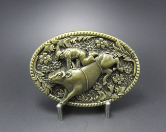 Bronze Bull Rider Riding Western Cowboy Rodeo Metal Fashion Belt Buckle