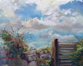 Original Oil Painting, Plein air landscape, 12x16in, Irish landscape, Old stone wall with blue sky and white clouds. Impressionist style