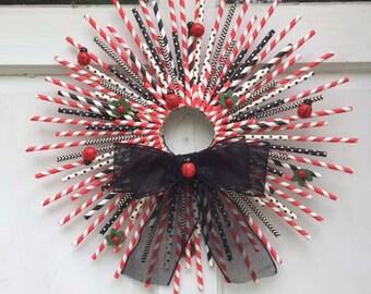 Lovely Ladybug Straw Wreath
