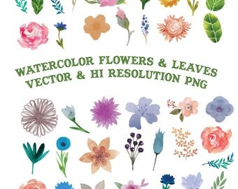 Watercolor Flower Clipart, Flower Watercolor Clipart, Watercolor Floral Clipart Clip Art PNG Vector EPS AI Design Elements Digital Download