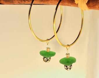 Gold Hoop Earrings, Green Sea Glass, Rhinestone Beads, Bridal Earrings, Anniversary Earrings, Date Night Jewelry, Gold Hoop Earings