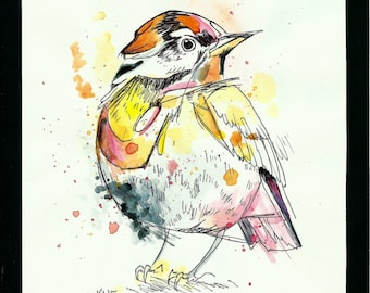 Bird *Original Ink and Watercolor Painting*