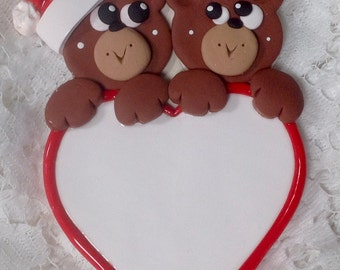 Personalized Two bears on a heart polymer clay ornament!