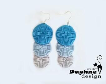 Dangle casual soutache earrings in ice blue