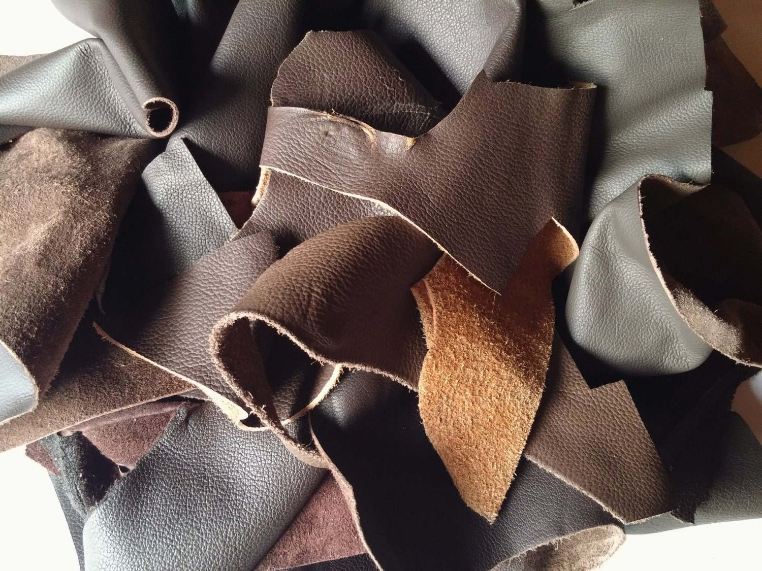 Leather scraps for crafts -  9 79