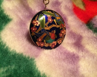 Cloisonne pendant necklace, two birds and flowers Pendant, Bird Cloisonne pendant