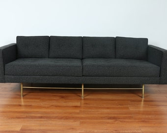 Mid Century Sofa With Brass Base