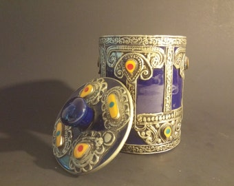 Vintage Decorative Tin Jeweled Container