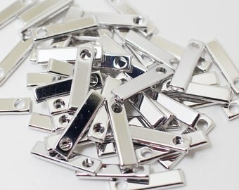 P0413/Anti-tarnished Rhodium Plating Over Brass/Square Tag Pendant/3.5x14mm/10pcs