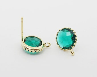 E008606/Emerald/Faceted Glass +Gold Plated Over Brass Frame+Sterling Silver Post/Tooth Framed Circle Glass Earrings/9x 9mm/2pcs