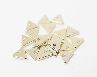 P0338/Anti-Tarnished Gold Plating Over Brass/Small Triangle Pendant/8mm/4pcs