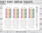 Daily Habits Sidebar // Colorful // Planner Stickers