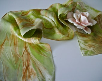 Handpainted Silk Scarf, Christmas gift, Gift for her