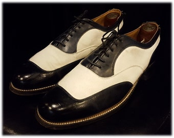 Vintage Mens ~ Custom Made ~ Black and White ~ Two Tone ~ Spectator Shoes ~ All Leather ~ Unusal Styling ~ Amazing Construction ~ Must See!