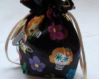 SPIN-2016-001 satin handbag spindle sugar skulls / satin spindle bag drawstring sugar skulls