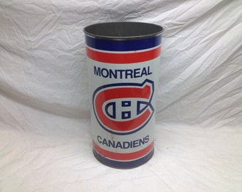 Vintage NHL Montreal Canadians Metal Garbage Can - Shabby Chic Hockey Bar Tavern Game Room Decor Trash Can