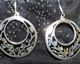 Sterling Silver Earrings Abalone Shell Inlay,Vintage earrings