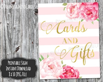 Printable Cards and Gifts Sign 8x10 Pink Watercolor Floral Gold Blush Pink Stripes Pattern Wedding or Baby Shower Digital Download
