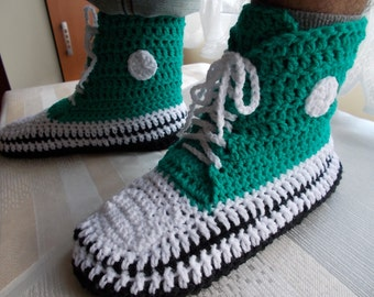 Crochet Slippers, Crochet shoes, Gift ideas, handmade slippers, Booties crochet, gift for man, Converse Slippers, green slippers