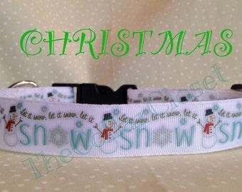 Snowman Let It Snow Christmas Dog Collar