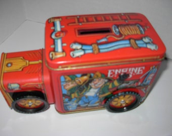 Tin Coin Bank, Fire Engine # 5, Engine Truck, Free Shipping