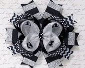 Large black white and silver hair bow-black white hair bow-black white silver headband-black white hair bow-layered black and silver bow