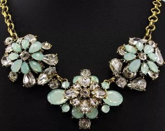 Mint j crew Style Necklace, Mint Green Crystal Bib Necklace,crystal flower statement necklace, antique brass link chain,368 ships USA